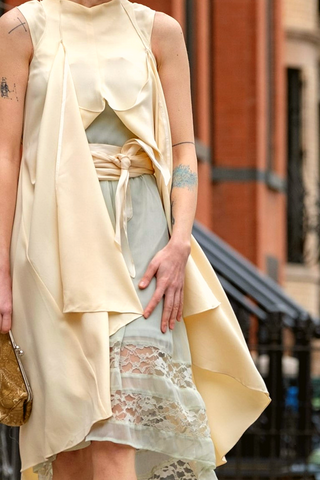 Morgane Le Fay Silk Wrap Dress in Ivory