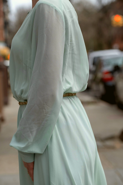 Vintage Mint Green Chiffon Dress