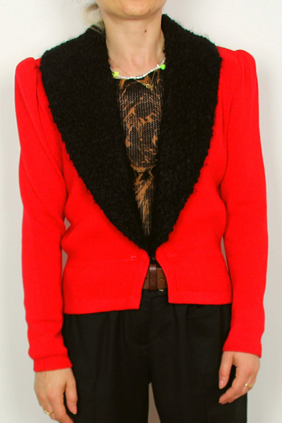 Red and Black st. john l. magnin short coat