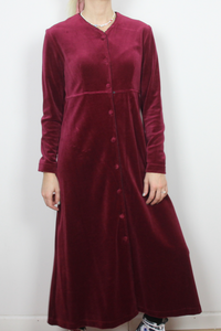 Burgundy velvet dress by Smith & Hawken