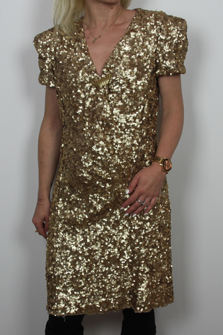 Gold sequined party dress French Connection