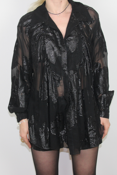 Poleci Black Mesh Embroidered Blouse--0243