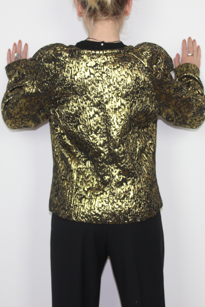 Short blazer in gold and black--0272