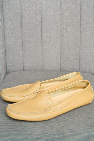Prada leather square-toe loafers