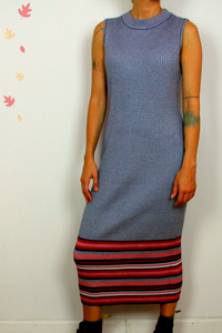 Ashley Stewart sleeveless knit dress with striped hem