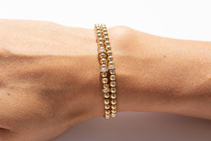 Small Gold Bracelet + Pavé Diamonds in 14k Gold (1)