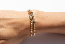Load image into Gallery viewer, Small Gold Bracelet + Pavé Diamonds in Oxidized Silver (3)