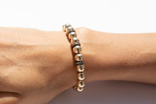 Load image into Gallery viewer, Large Gold Bracelet +  Pavé Diamonds in Oxidized Silver (2 options)