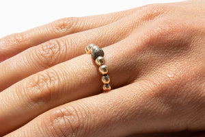 Gold Ring + Pavé Diamonds in Oxidized Silver