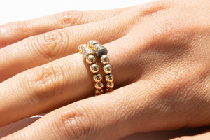 Gold Ring + Pavé Diamonds in 14k Gold