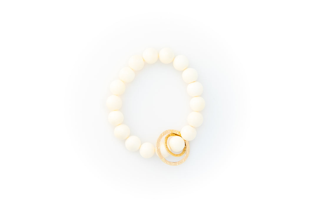 White Bone Beaded Bracelet With Two Solid 14k Yellow Gold Circle Charms