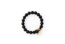 Load image into Gallery viewer, Black Onyx Beaded Bracelet + 14k Yellow Gold Circle Charms