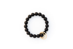 Black Onyx Beaded Bracelet + 14k Yellow Gold Circle Charms