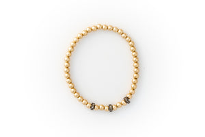 Small Gold Bracelet + Pavé Diamonds in Oxidized Silver (3)