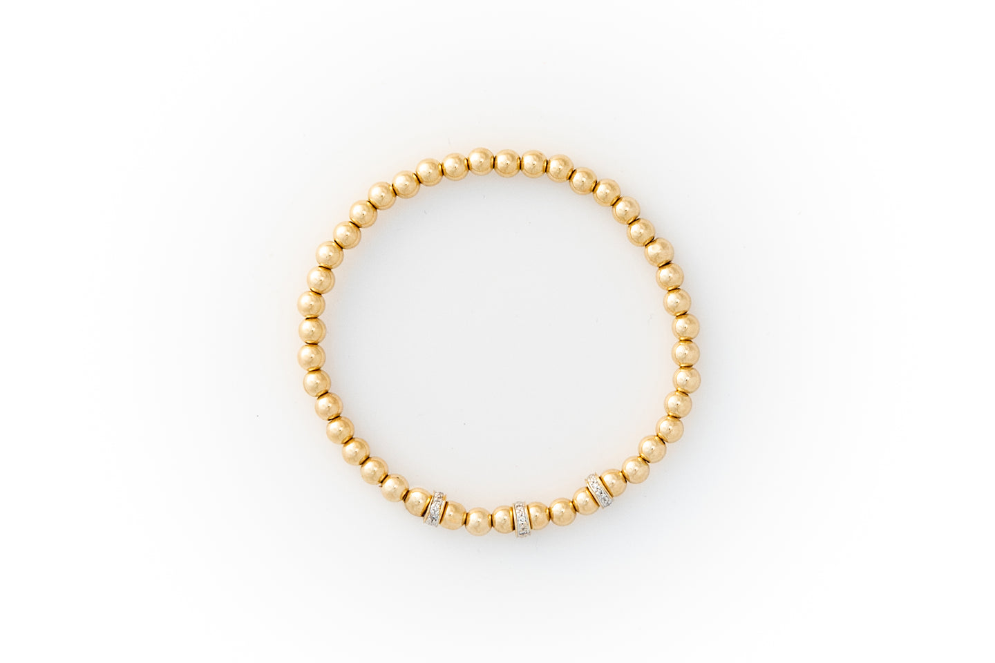 Small Gold Bracelet + Pavé Diamonds in 14k Gold (3)