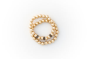 Large Gold Bracelet +  Pavé Diamonds in Oxidized Silver (2 options)