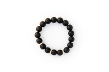 Load image into Gallery viewer, Black Onyx Beaded Bracelet With Three Pavé Diamond Spacer Beads Set in 14k Gold