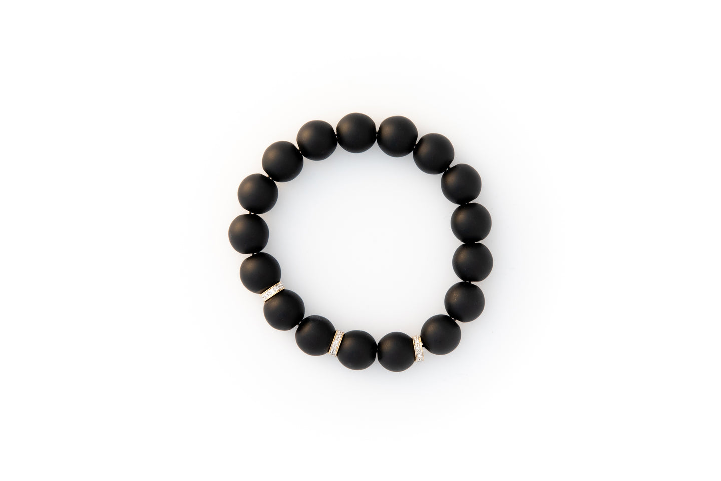 Black Onyx Beaded Bracelet With Three Pavé Diamond Spacer Beads Set in 14k Gold
