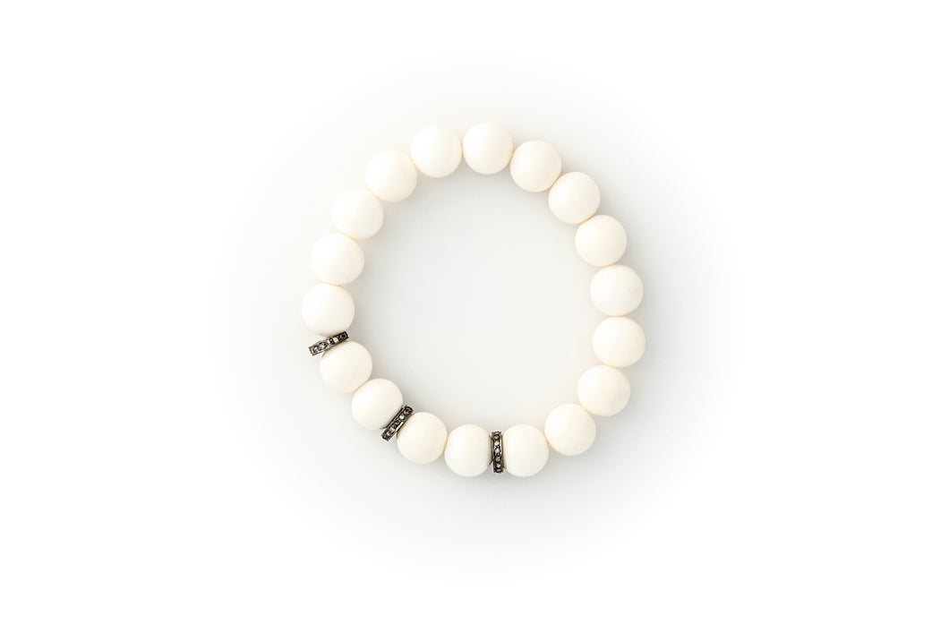 White Bone Beaded Bracelet With Pavé Champagne Diamonds in Oxidized Silver