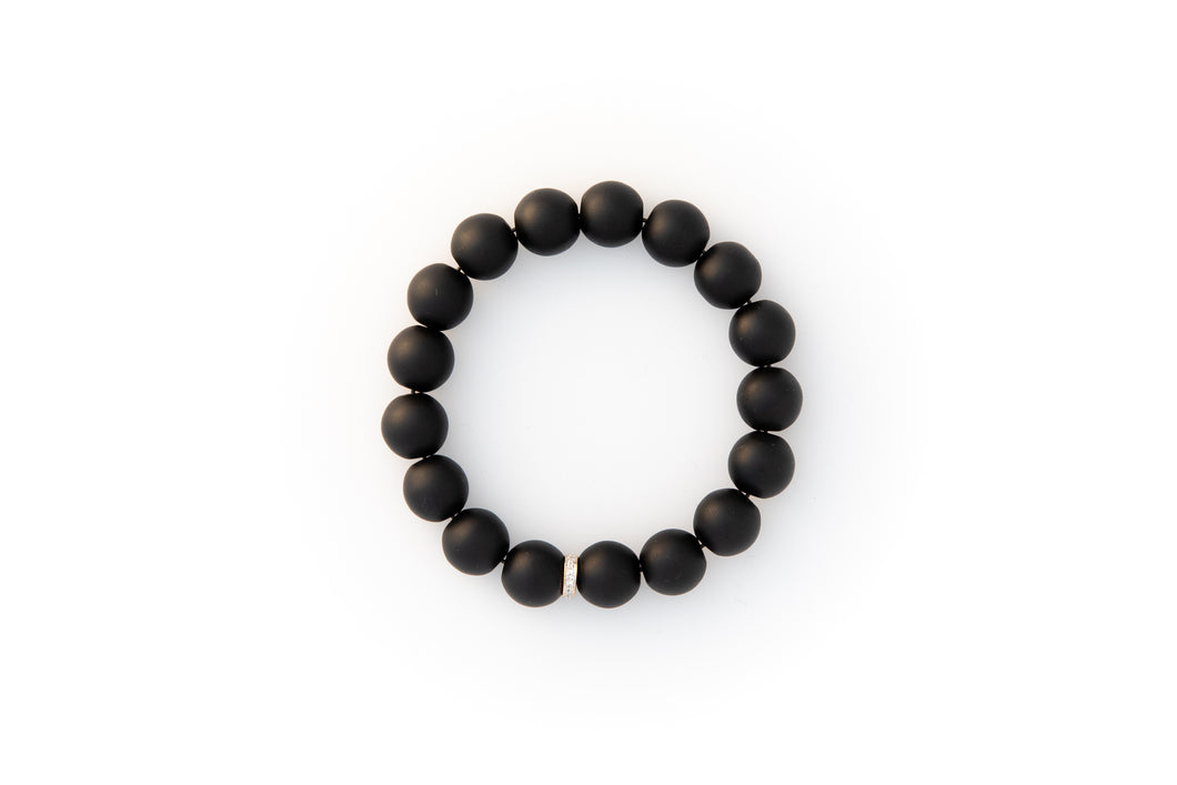 Black Onyx Beaded Bracelet With Pavé Diamonds Set in 14k Gold