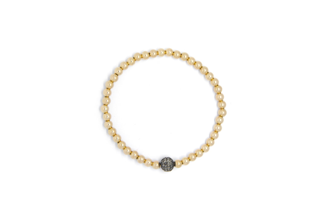 Small Gold Bracelet + Diamond Ball