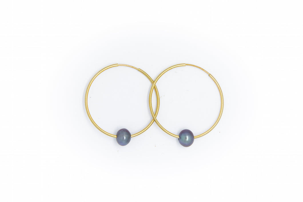 Medium Gold Hoop Earrings + Black or White Pearl