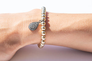 Medium Gold Bracelet + Diamond Teardrop Charm