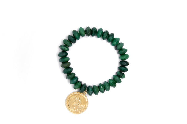 Jade + Gold St. Christopher Medallion