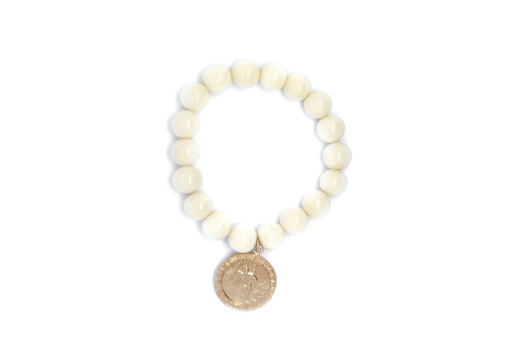 White Bone Bead Bracelet Adorned With a  Yellow Gold Filled St Christopher Medallion Coin Charm