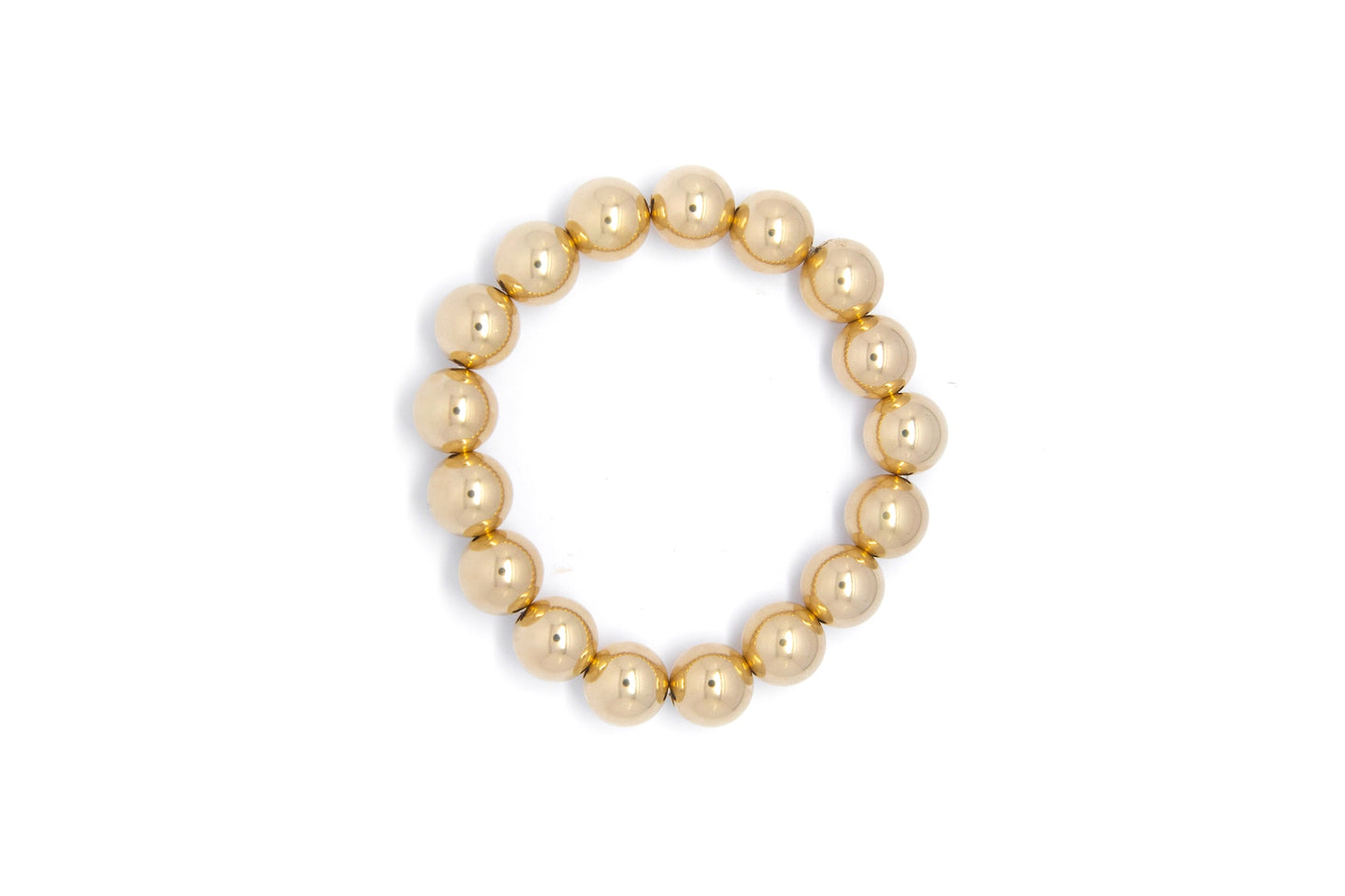 Gold Smooth Round Beaded Bracelet With Extra Large Beads