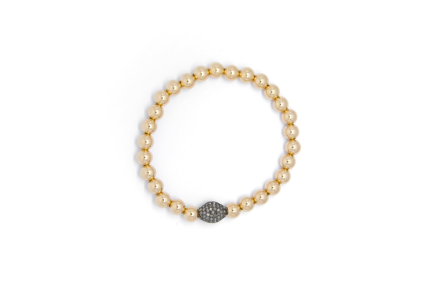 Medium Gold Bracelet + Diamond Oval
