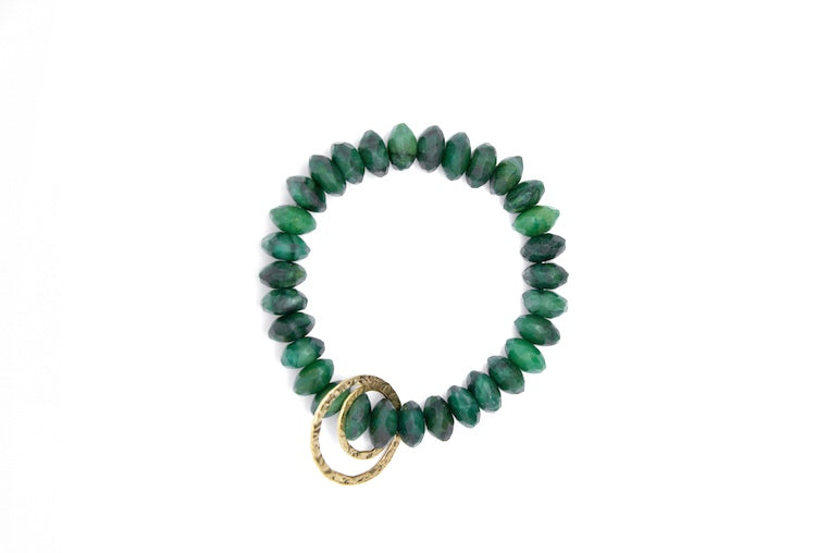 Jade + 14k Gold Circle Charms