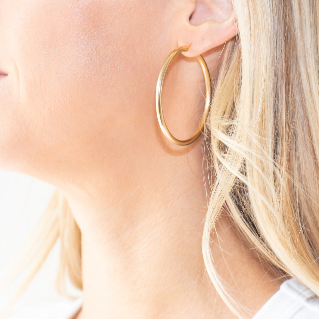 Large Simple Gold Hoops