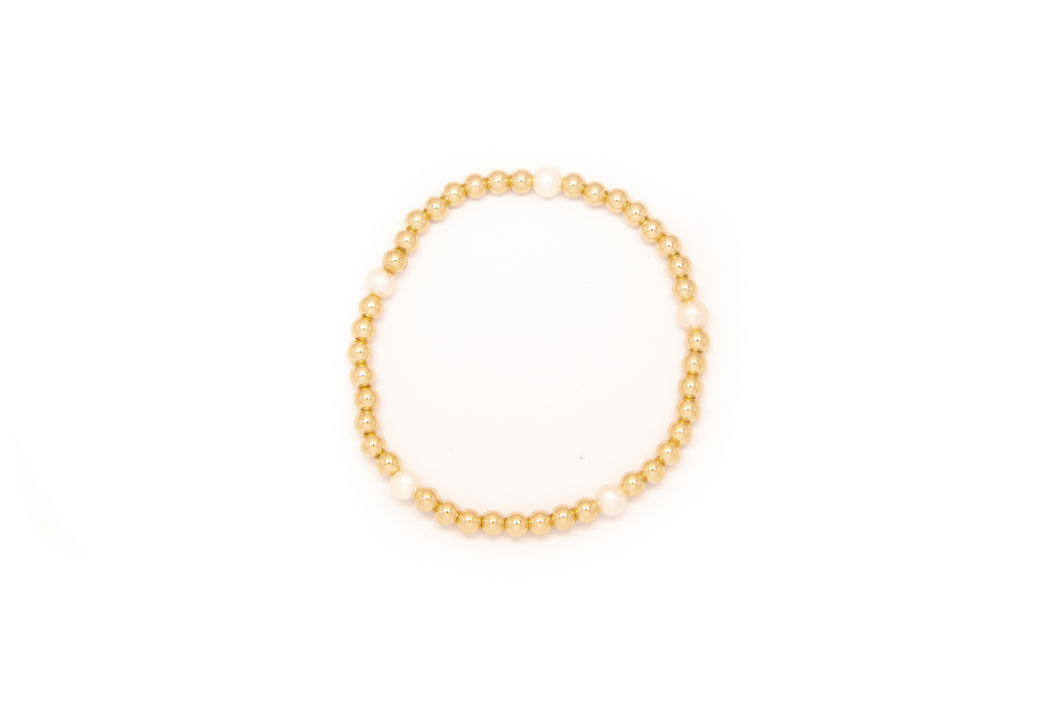 Small Gold Bracelet w/ 5 Pearls