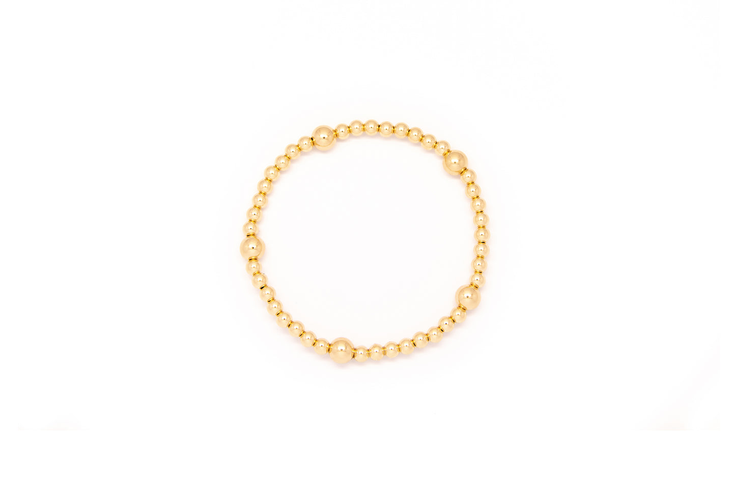 Small Gold Bracelet w/ 5 Ball Stations