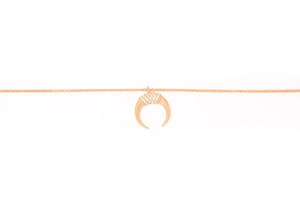 Diamond Horn Necklace 14k Rose Gold
