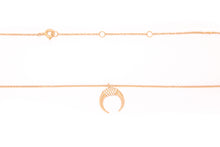 Load image into Gallery viewer, Diamond Horn Necklace 14k Rose Gold