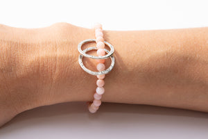 Pink Opal w/ Sterling Silver Circle Charms