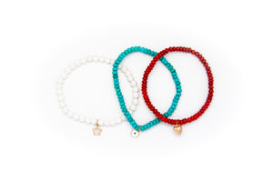 White Coral Set w/ 14k Gold Mini Charm