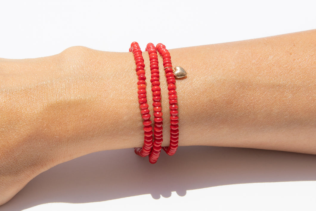 Red Coral Set w/ 14k Gold Mini Charm