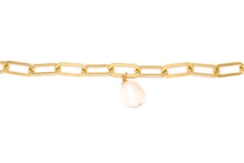 Load image into Gallery viewer, Large Oval Link Chain Bracelet + Freshwater Pearl