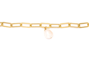 Large Oval Link Chain Bracelet + Freshwater Pearl