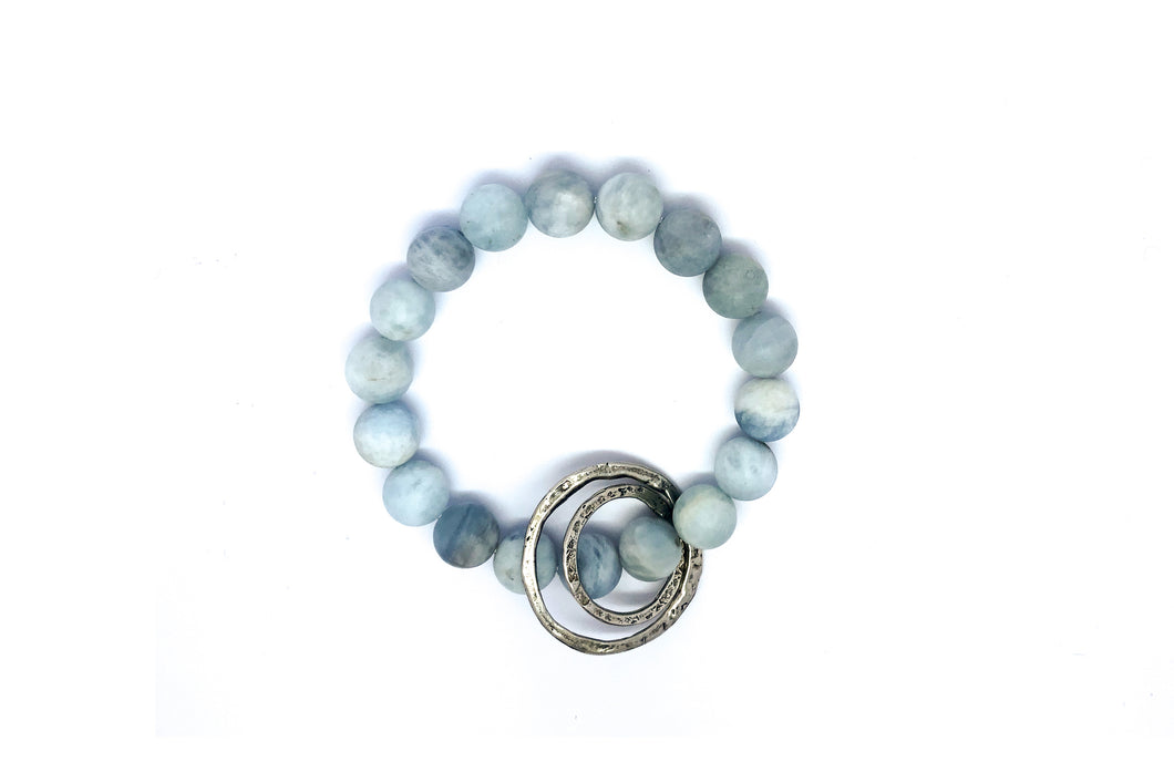 Light Blue Aquamarine Beaded Bracelet with 2 Hammered Sterling Silver Circle Charms