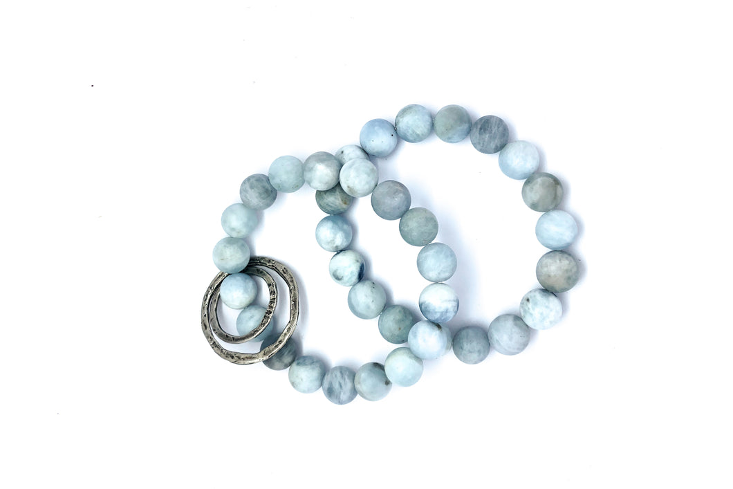 Set of Two Aquamarine Beaded Bracelet with Sterling Silver Circle Charms