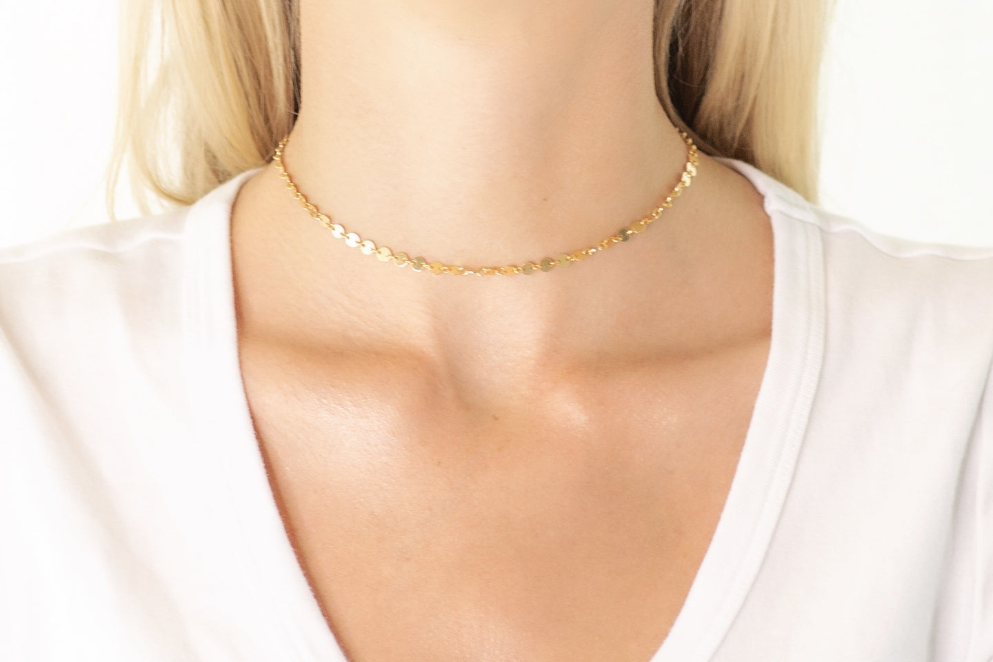 Gold Round Disc Chain Choker Necklace