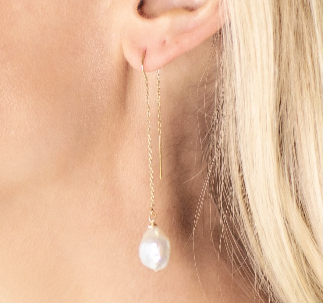 14k Yellow Gold Threader Earrings with White Freshwater Pearl Drops from Arm Candy By Kelly