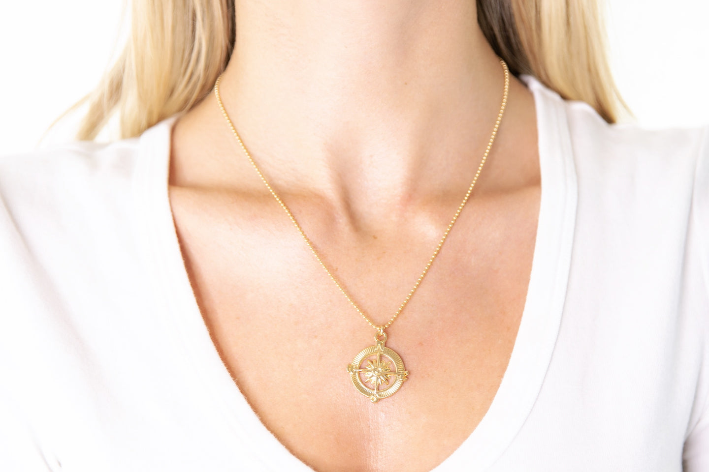 Gold Compass Pendant Necklace