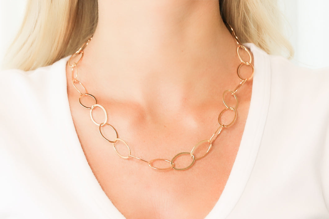 Extra Large Gold Oval Link Chain Necklace