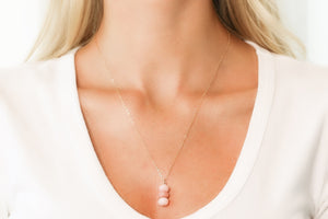 Gold Necklace With Pink Opal Pendant