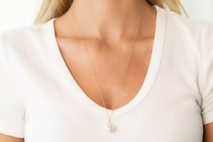 Gold Necklace With White Freshwater Pearl Pendant